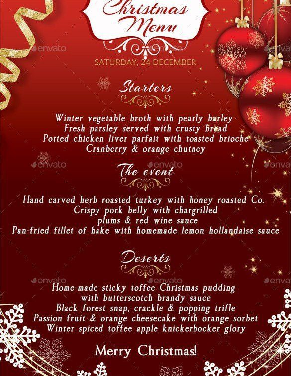 Christmas Menu Word Template 2017 | Best Template Examples