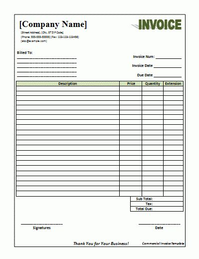 Commercial Invoice Template | cyberuse