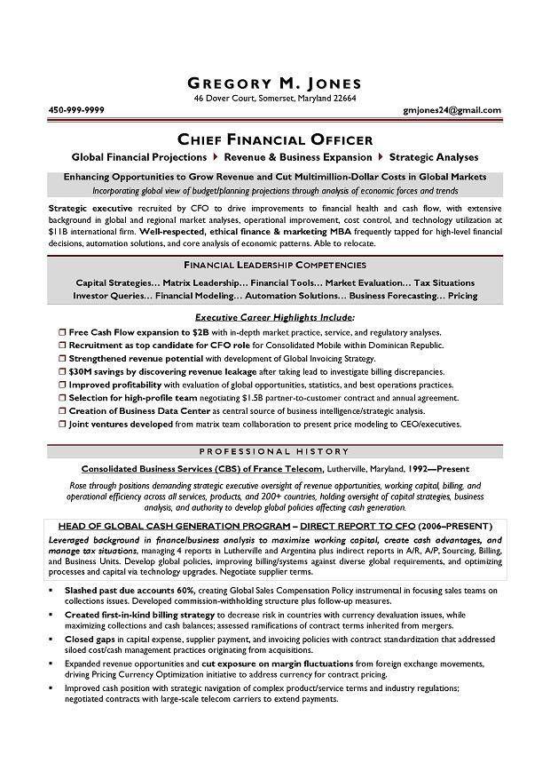 CFO Sample Resume - Executive resume writer Chicago, Houston, San ...