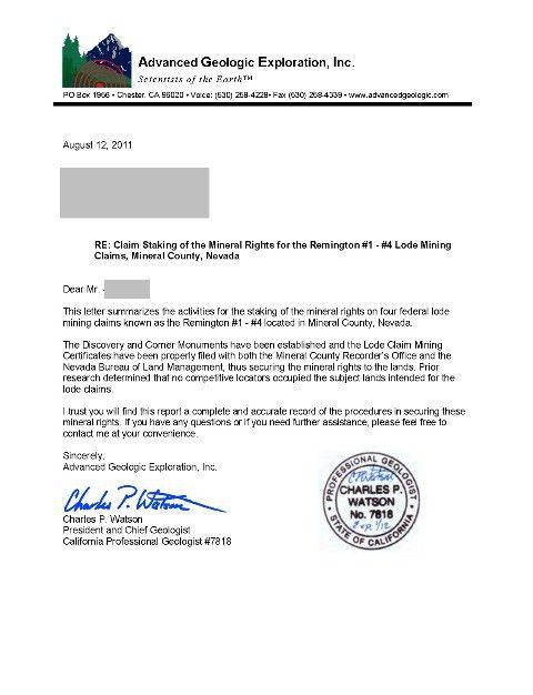 Advanced Geologic Exploration, Inc - Claim Staking