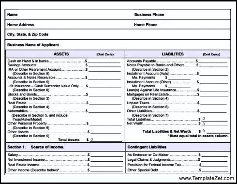 Business Financial Statement Form. Personal Financial Statement ...