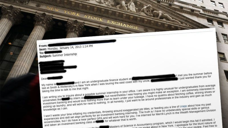 Unapologetically Honest' Wall Street Internship Cover Letter from ...