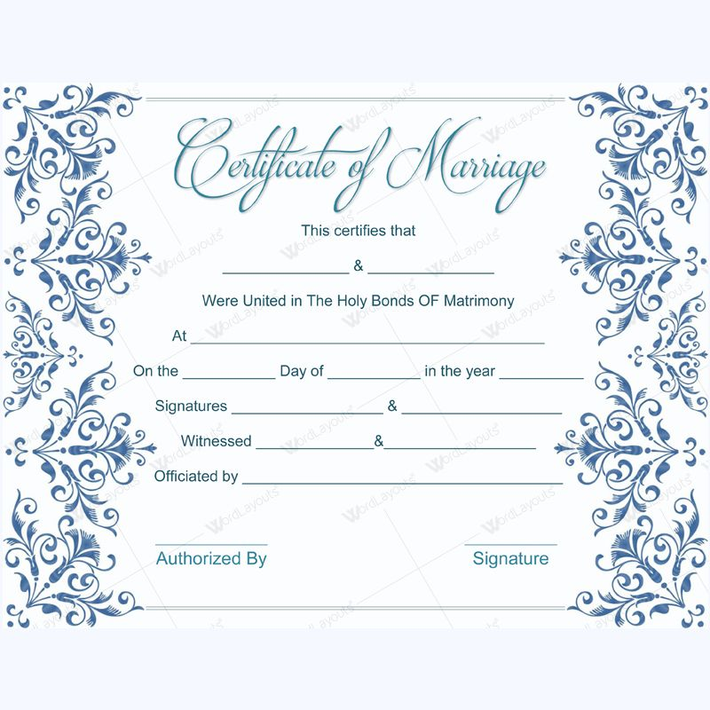 Fake Marriage Certificate Template Free - Dotxes