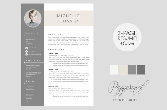 Resume Template + Cover Letter WORD by PAPPERMINT on Creative ...