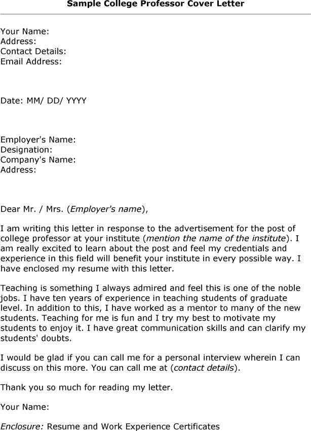 Cover Letter For College Professor Job Example With Sample ...