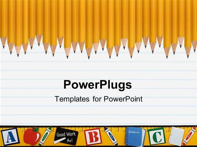 PowerPoint Template: Line of sharp yellow pencils on a loose leaf ...