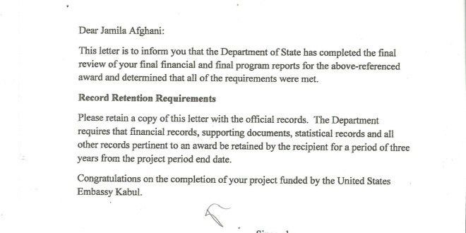 Letter of successful completion of the project by US Embassy ...