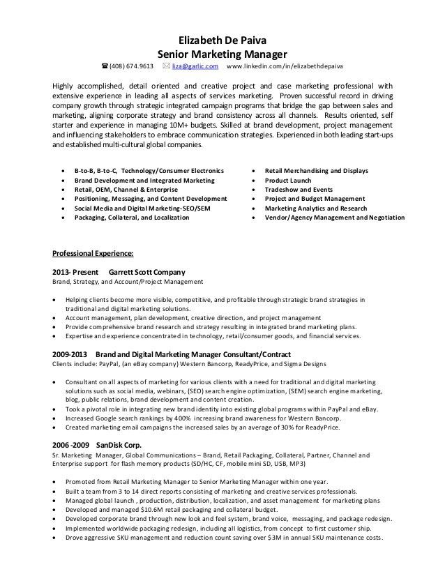 Elizabeth De Paiva Senior Marketing Manager Resume