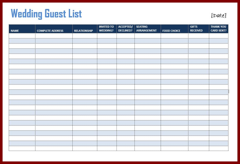 11+ wedding guest list template | sendletters.info
