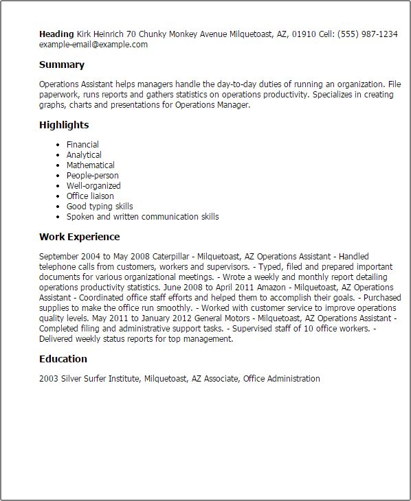 Professional Operations Assistant Templates to Showcase Your ...
