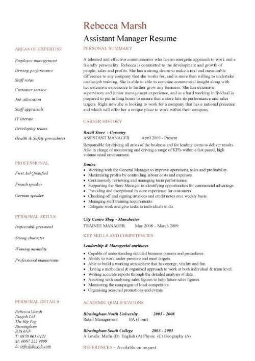 assistant manager resume retail jobs cv job description - Assistant Operation Manager Resume
