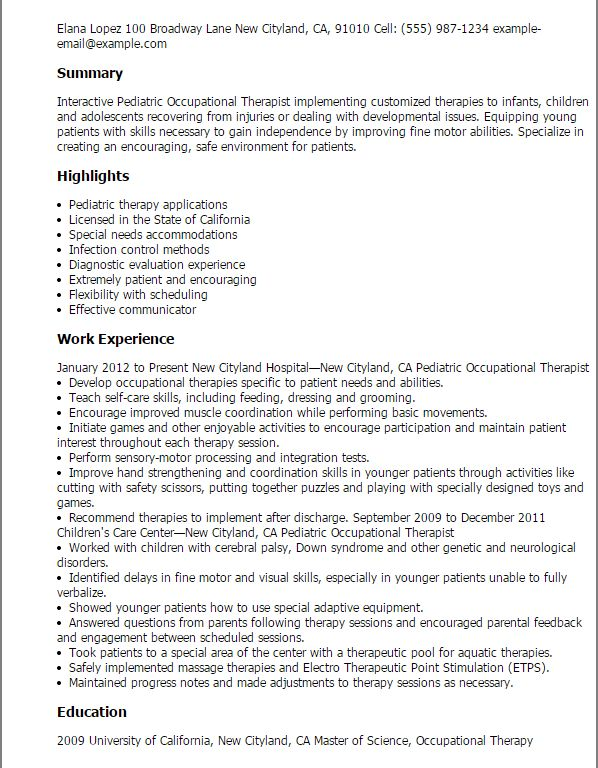 occupational therapist resume template unforgettable occupational