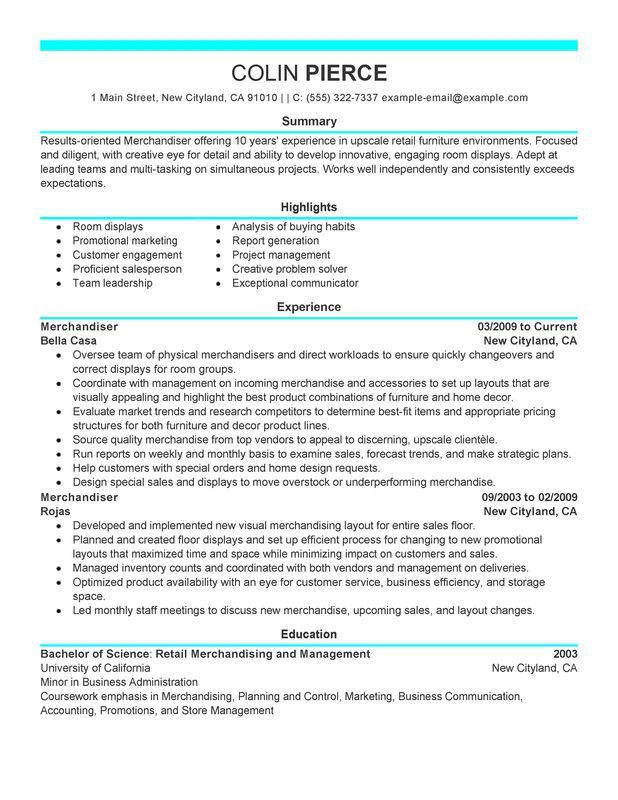 Unforgettable Merchandiser Retail Representative Part Time Resume ...