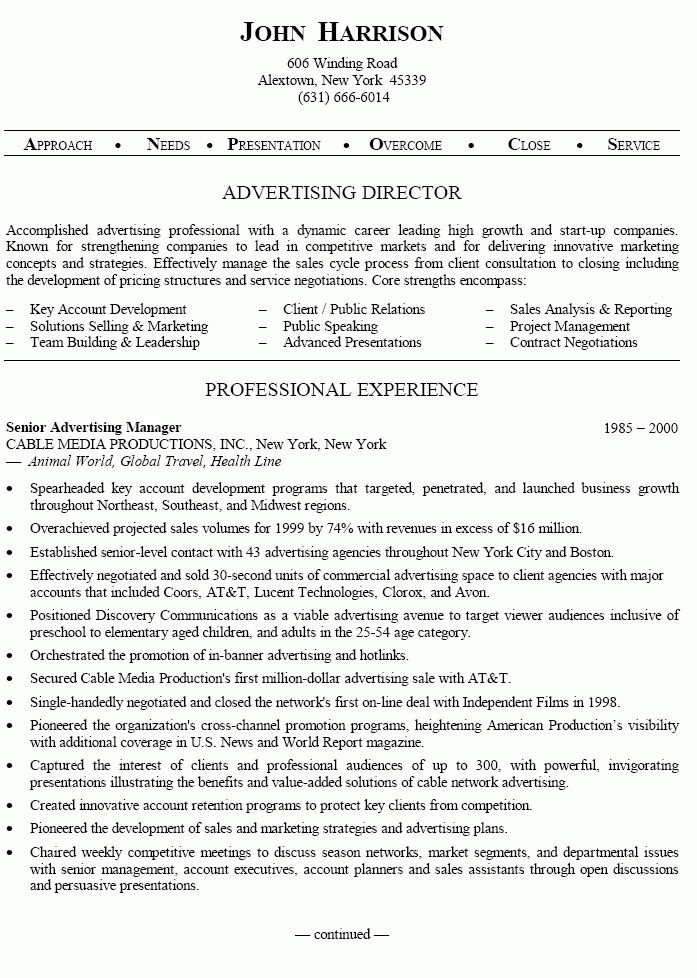 Senior Advertising Manager Sample Resume 6 Resumes Good Profile ...