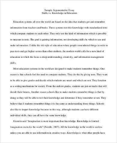 Sample Argumentative Essay - 9+ Examples in PDF, Word