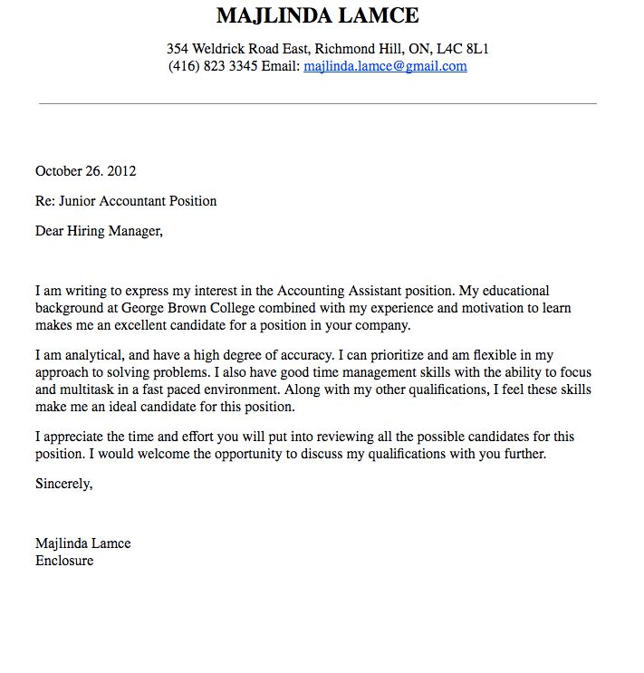 accounting cover letter with experience