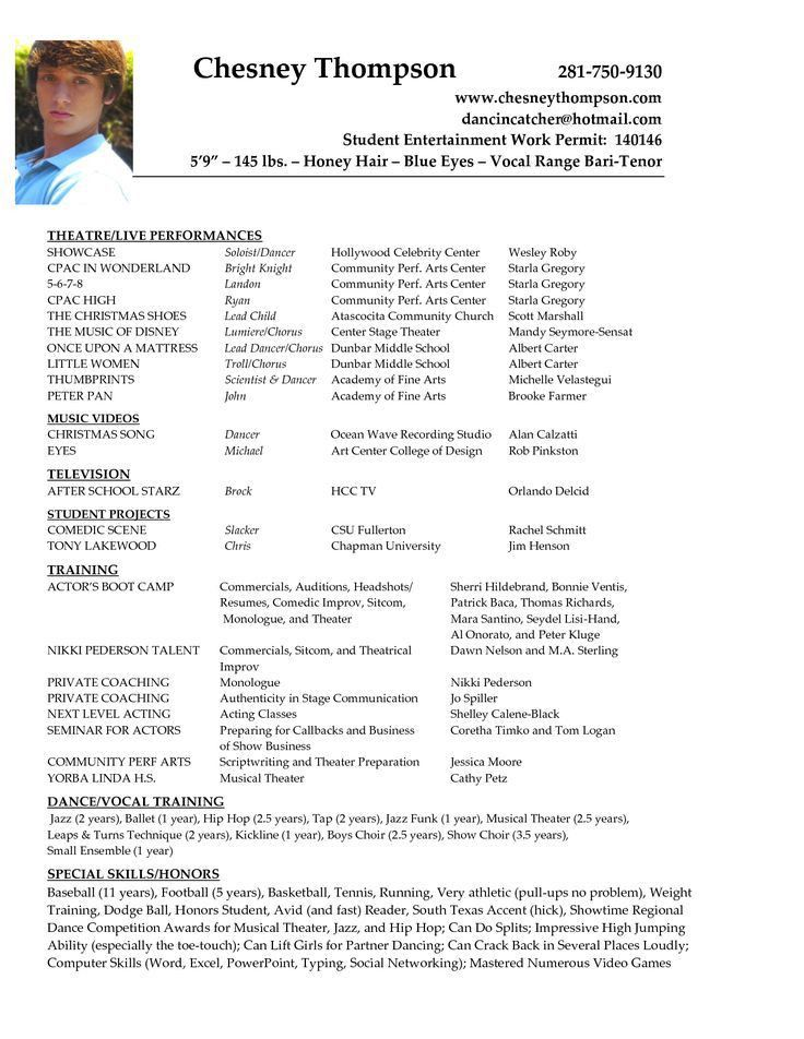Examples Of Actors Resumes. Beginner Acting Resume Example Are ...
