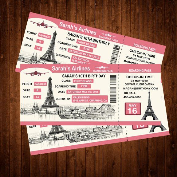 Custom Boarding Pass Birthday Invitation Personalized Paris