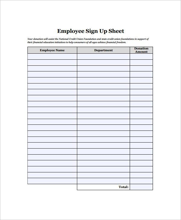 Sample Employee Sign in Sheet - 9+ Free Documents Download in Word ...