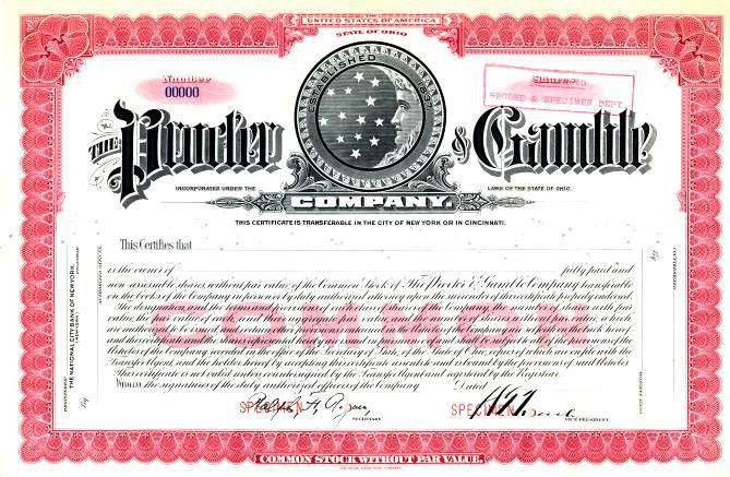 Procter & Gamble Company ( Early Moon and Stars Logo) - Rare Stock ...