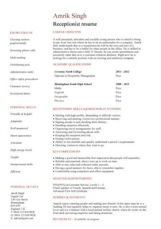 Receptionist Resume Skills [Template.billybullock.us ]
