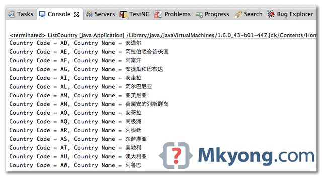 Display a list of countries in Java