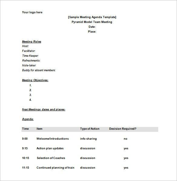 Meeting Schedule Template – 10+ Free Word, Excel, PDF Format ...
