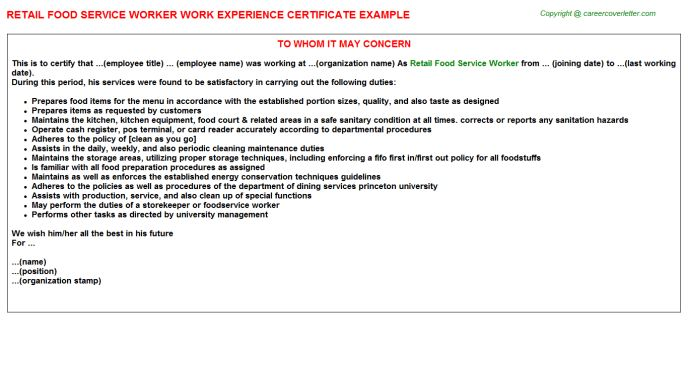 Retail Food Service Worker Work Experience Certificate