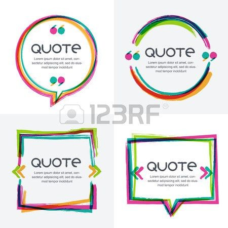 Vector Set Of Quote Forms Template. Colorful Bright Backgrounds ...