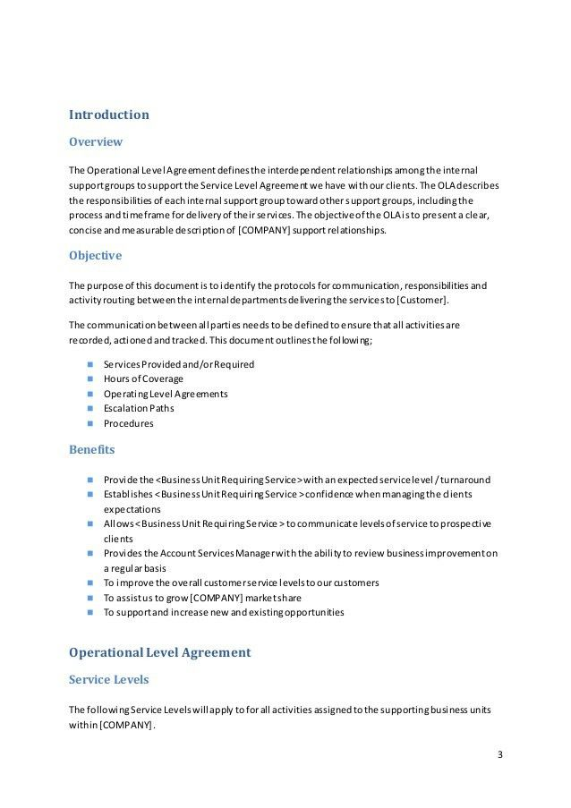 Sample Operational Level Agreement Template