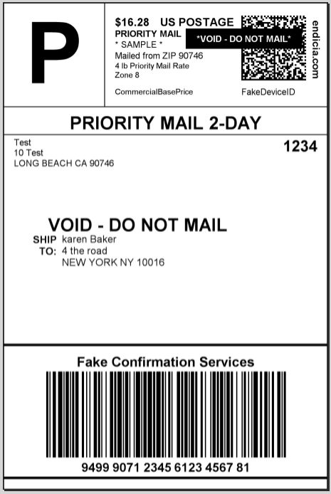 Endicia Shipping labels when using custom rates. | USPS Shipping ...