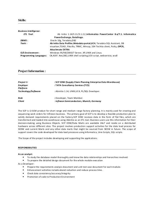 Chic Idea Hadoop Developer Resume 16 Project Trainee Resume ...
