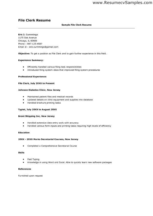 File Clerk Resume Sample | haadyaooverbayresort.com