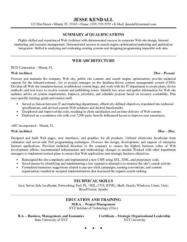 Architecture Resume Sample If you want to get an architecture job ...