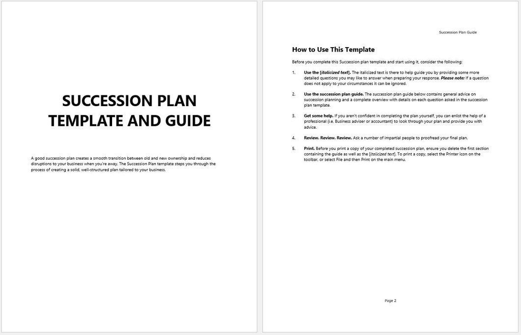 Business Succession Planning Template and Guide – Clickstarters