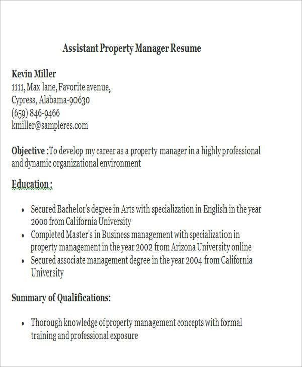 Assistant Property Manager Resume] Assistant Property Manager
