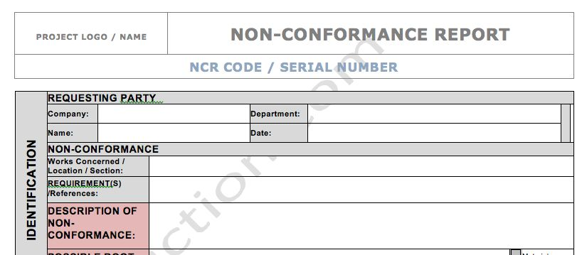 DOWNLOAD: NCR Form - Nonconformance Report - Quality in Construction