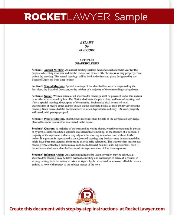 Corporate Bylaws Template (with Sample)