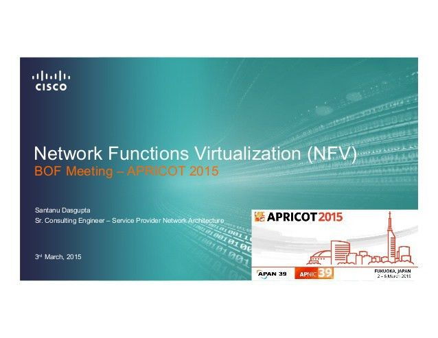 Network Function Virtualisation (NFV) BoF