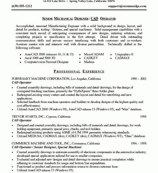 sample resume for mechanical engineer mechanical engineer
