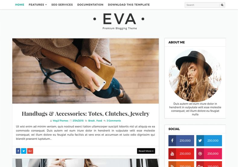 Eva Simple Blogger Template • Blogspot Templates 2017