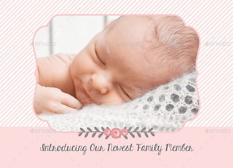 Birth Announcement Template - Baby Girl by CarousellerieCreative ...