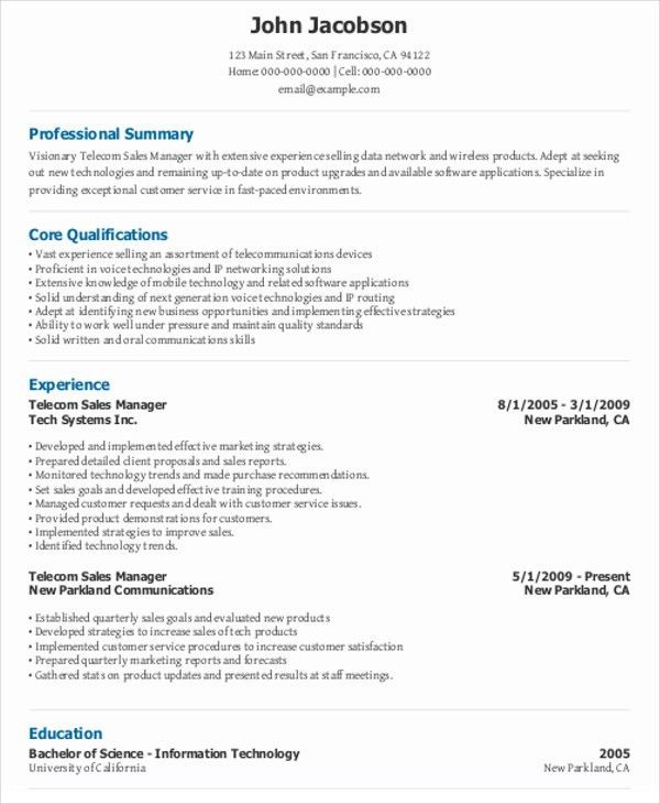 telecommunications resume resume example telecommunications