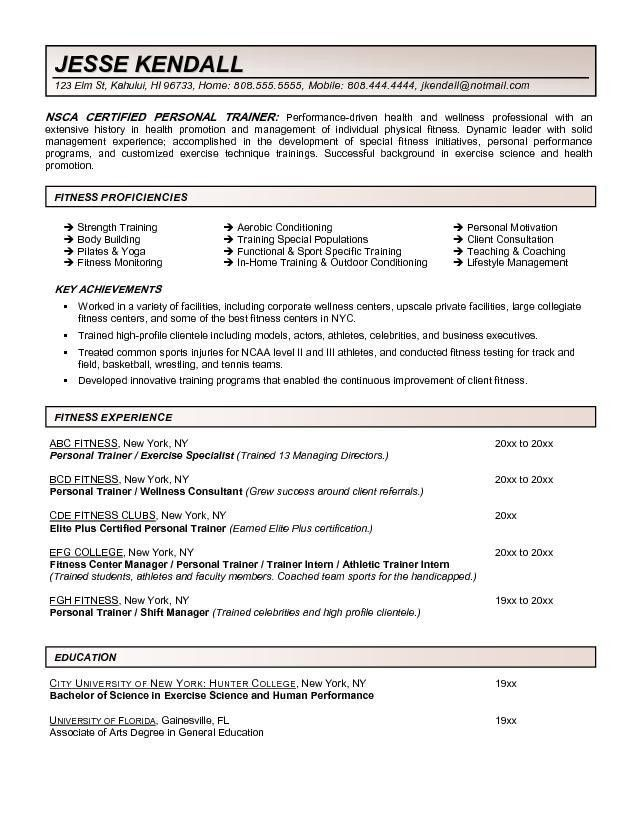 Fitness And Personal Trainer Resume Example | RecentResumes.com