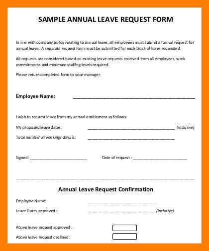 9+ annual leave form | protect letters