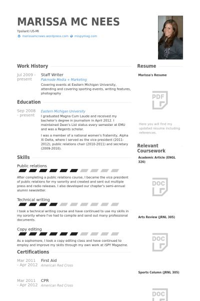Staff Writer Resume samples - VisualCV resume samples database