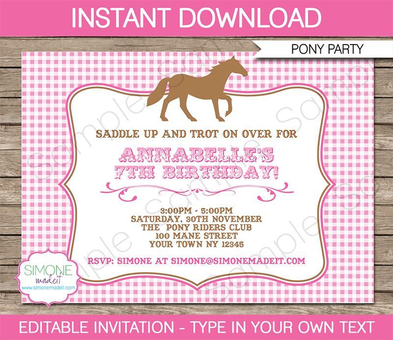 Pony Party Invitations | Horse Party | Birthday Party