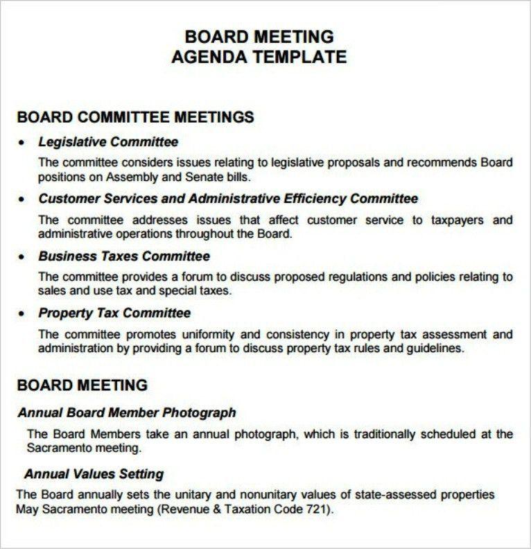 Example Best Board Meeting Agenda Template | TemplateZet