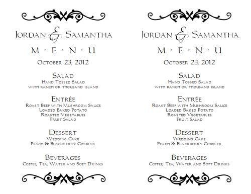 Wedding Menu Template 1 | Wedding Menu Templates