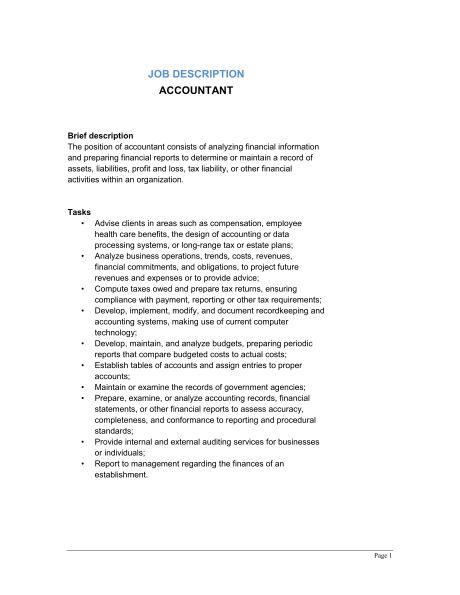 Accountant Job Description - Template & Sample Form | Biztree.com